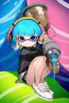 1girl aerospray_(splatoon) bangs black_shirt black_shorts blue_eyes blue_hair blunt_bangs bob_cut closed_mouth commentary dolphin_shorts domino_mask headphones highres inkling long_sleeves looking_at_viewer mask no_socks over_shoulder oversized_object paint pointy_ears shima_(5p6p7p) shirt shoes short_hair short_shorts shorts sitting smile sneakers solo splatoon_(series) splatoon_2 symbol_commentary tentacle_hair white_footwear