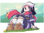 1girl absurdres arm_support artist_name black_hair blush_stickers female_protagonist_(pokemon_legends:_arceus) grass head_scarf highres japanese_clothes legs_together looking_at_viewer pokemon pokemon_(game) pokemon_legends:_arceus rariatto_(ganguri) red_scarf sandals scarf sitting solo twitter_username