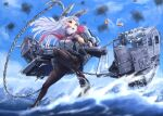 1girl anchor bangs black_legwear blue_sky breasts cannon casing_ejection chain clouds commentary_request day dress from_below gloves hair_ribbon headgear kantai_collection legs long_hair machinery murakumo_(kancolle) necktie ocean open_mouth orange_eyes outdoors pantyhose red_neckwear remodel_(kantai_collection) ribbon rigging sailor_dress shell_casing sidelocks silver_hair sky smoke solo standing standing_on_liquid thighband_pantyhose tress_ribbon turret waves weapon zombie_mogura