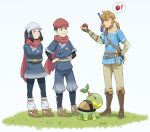 1girl 2boys bangs blonde_hair blue_eyes blue_hair female_protagonist_(pokemon_legends:_arceus) floating_scarf francisco_mon gloves hair_ornament hat head_scarf highres hylian_shield link long_hair male_protagonist_(pokemon_legends:_arceus) multiple_boys open_mouth pointy_ears poke_ball_(legends) pokemon pokemon_(game) pokemon_legends:_arceus red_scarf scarf scarf_over_mouth smile the_legend_of_zelda the_legend_of_zelda:_breath_of_the_wild undershirt