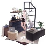 1girl ankle_ribbon azur_lane bangs barefoot basket black_shorts book breasts cabinet character_name coffee_maker_(object) coffee_pot computer copyright_name cup earphones headphones highres holding holding_cup indoors kirov_(azur_lane) kirov_(blend_r)_(azur_lane) laptop large_breasts long_hair long_sleeves looking_at_viewer manjuu_(azur_lane) mug off_shoulder official_alternate_costume official_art parted_lips ponytail ribbon shirt short_shorts shorts sideboob smile solo standing swept_bangs transparent_background very_long_hair white_hair white_shirt yellow_eyes