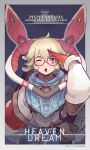 1girl ;o absurdres black-framed_eyewear blonde_hair copyright_name dated glasses gloves highres long_sleeves looking_at_viewer one_eye_closed pixiv_fantasia_mountain_of_heaven pouch red_eyes red_gloves short_hair simple_background solo upper_body yuushoku