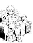 1boy backpack bag book cat chair collar drawer hat hat_removed headwear_removed jacket jacket_removed letter luke_triton male_focus monochrome pillow professor_layton reading shougin signature sitting smile solo stuffed_animal stuffed_toy teddy_bear vest white_background