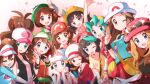 6+girls absurdres beanie black_hair blonde_hair brown_hair dawn_(pokemon) elaine_(pokemon) everyone eyewear_on_headwear gloria_(pokemon) hat highres hilda_(pokemon) kris_(pokemon) leaf_(pokemon) looking_at_viewer lyra_(pokemon) may_(pokemon) miyama-san multiple_girls pokemon pokemon_(game) pokemon_bw pokemon_bw2 pokemon_frlg pokemon_gsc pokemon_hgss pokemon_lgpe pokemon_rse pokemon_sm pokemon_swsh pokemon_usum pokemon_xy selene_(pokemon) serena_(pokemon) skirt smile twintails v