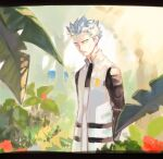 1boy arms_behind_back closed_mouth coat cyrus_(pokemon) day flower foliage grey_hair leaf looking_at_viewer male_focus outdoors p-40_(tukinosita-de) pokemon pokemon_(game) pokemon_dppt red_flower solo spiky_hair team_galactic tree