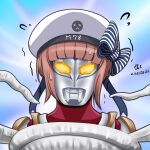 1girl artist_name bangs blunt_bangs clothes_writing commentary_request dated hat kantai_collection namesake parody redhead sailor_hat short_hair signature solo sweatdrop tentacles tk8d32 ultra_series ultraman_max ultraman_max_(series) white_headwear z3_max_schultz_(kancolle)