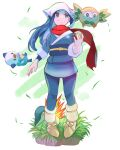 1girl a2t_will_draw bandana blue_hair blue_pants cyndaquil female_protagonist_(pokemon_legends:_arceus) flying gen_2_pokemon gen_5_pokemon gen_7_pokemon grass grey_eyes highres holding holding_poke_ball leaf long_hair looking_up obi open_hand oshawott pants parted_lips poke_ball pokemon pokemon_legends:_arceus rowlet sash scarf smile solo_focus white_bandana