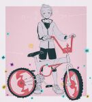 1boy bicycle blush closed_eyes closed_mouth commentary_request ground_vehicle holding knee_pads male_focus p-40_(tukinosita-de) pokemon pokemon_(game) pokemon_swsh rotom_bike shirt shoes short_hair shorts smile solo standing victor_(pokemon) zipper_pull_tab