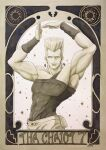 1boy arms_up artist_name broken_heart bunbun_hop earrings grey_eyes grey_hair highres jean_pierre_polnareff jewelry jojo_no_kimyou_na_bouken looking_at_viewer male_focus pose solo standing stardust_crusaders tarot toned traditional_media watercolor_(medium)