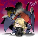 1girl blonde_hair blush breasts chibi cynthia_(pokemon) dragonith full_body garchomp gen_4_pokemon glint grey_eyes hair_ornament hair_over_one_eye heavy_breathing long_hair looking_at_viewer pokemon pokemon_(creature) pokemon_bdsp saliva shadow smile standing very_long_hair