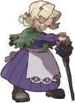 1girl agatha_(pokemon) apron artist_request black_eyes blonde_hair boots bright_pupils cane dress elite_four full_body grey_footwear hands_together highres holding holding_cane long_sleeves looking_to_the_side medium_hair official_art old old_woman parted_lips pokemon pokemon_(game) pokemon_lgpe purple_dress smile solo standing waist_apron white_apron