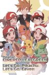 2girls 3boys :d absurdres arm_up bangs baseball_cap blue_oak blue_shirt brown_eyes brown_hair bulbasaur charmander chase_(pokemon) clenched_hand commentary_request copyright_name eevee elaine_(pokemon) eyelashes gen_1_pokemon grey_eyes grin hat highres holding holding_poke_ball jacket leaf_(pokemon) multiple_boys multiple_girls odd_(hin_yari) one_eye_closed open_mouth pikachu pleated_skirt poke_ball poke_ball_(basic) pokemon pokemon_(game) pokemon_frlg pokemon_lgpe red_(pokemon) red_headwear red_skirt shirt short_sleeves skirt sleeveless sleeveless_shirt smile spiky_hair squirtle teeth tongue white_headwear