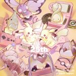 budew butterfree commentary_request dated electricity english_text eye_contact gen_1_pokemon gen_3_pokemon gen_4_pokemon gen_5_pokemon gen_8_pokemon greedent highres looking_at_another metapod no_humans null_suke open_mouth pidove pikachu pokedex pokemon pokemon_(creature) rotom rotom_dex rotom_phone signature smile taillow tongue