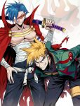 2boys arm_tattoo belt bent_over blonde_hair blue_eyes breasts cape english_commentary flag green_jacket grin highres holding holding_sword holding_weapon jacket kamina_(ttgl) kamina_shades katana kittan_bachika male_focus manly multicolored_hair multiple_boys open_fly pectorals popped_collar red-tinted_eyewear red_cape red_eyes rimless_eyewear sarashi sheath sheathed shimure_(460) shirtless smile spiky_hair sword tattoo tengen_toppa_gurren_lagann thick_eyebrows time_paradox torn_cape torn_clothes two-tone_hair undercut weapon white_belt