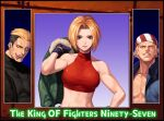 1girl 2boys bandana bangs bare_shoulders belt billy_kane black_hair black_jacket black_shirt blonde_hair blue_eyes blue_gloves blue_jacket blue_mary breasts collarbone commentary_request copyright_name evilgun fatal_fury fingerless_gloves gloves green_jacket grin hand_up holding holding_clothes holding_jacket jacket jacket_over_shoulder jacket_removed looking_at_viewer medium_breasts multicolored_hair multiple_boys muscular muscular_female open_clothes open_jacket parted_bangs parted_lips pectorals red_tank_top shiny shiny_clothes shiny_hair shirt short_hair sleeveless smile stomach tank_top teeth the_king_of_fighters the_king_of_fighters_'97 toned toned_male tongue tongue_out turtleneck two-tone_hair upper_body upper_teeth yamazaki_ryuuji