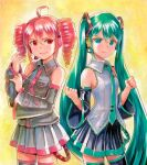 2girls adjusting_clothes adjusting_sleeves aqua_eyes aqua_hair aqua_nails aqua_neckwear bare_shoulders black_legwear black_shirt black_skirt black_sleeves clenched_hands commentary cowboy_shot detached_sleeves drill_hair frown grey_shirt hair_ornament hand_up hatsune_miku headphones headset kasane_teto long_hair looking_at_viewer mayo_riyo miniskirt multiple_girls nail_polish necktie pleated_skirt red_eyes redhead shirt skirt sleeveless sleeveless_shirt smile thigh-highs traditional_media twin_drills twintails utau v-shaped_eyebrows very_long_hair vocaloid zettai_ryouiki