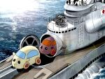 4boys cannon guinea_pig i-400_(submarine) japanese_flag matsuda_juukou molcar multiple_boys ocean outdoors parody pui_pui_molcar sparkle submarine turret water watercraft