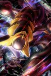 8686island blurry closed_mouth commentary_request energy gen_4_pokemon giratina giratina_(origin) glowing glowing_eyes highres legendary_pokemon light_trail looking_at_viewer no_humans pokemon pokemon_(creature) red_eyes solo