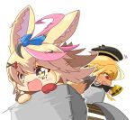 :d animal_ear_fluff animal_ears bangs beret black_hair blonde_hair blush bow braid chibi commentary_request eyebrows_visible_through_hair fox_ears fox_girl fox_tail french_braid gloves hair_between_eyes hair_ornament hat headwear_removed helmet highres holding holding_helmet hololive letterboxed long_hair minecart minecraft multicolored_hair multiple_girls no_nose nokiri omaru_polka open_mouth outline pink_hair red_gloves ribbon shiranui_flare single_glove smile star-shaped_pupils star_(symbol) sweatdrop symbol-shaped_pupils symbol_commentary tail white_outline