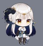 1girl azur_lane bangs black_gloves black_skirt brown_eyes chibi chinese_commentary ciyana cleavage_cutout clenched_hands clothing_cutout dress elbow_gloves eyebrows_visible_through_hair gloves grey_background horns indie_virtual_youtuber leggings light_blush parody pointy_ears silver_hair skirt smile solo style_parody virtual_youtuber white_dress xiaogu_ju