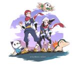 1boy 1girl :< cyndaquil female_protagonist_(pokemon_legends:_arceus) flying gen_2_pokemon gen_5_pokemon gen_7_pokemon hat head_scarf highres holding holding_poke_ball japanese_clothes kelvin-trainerk male_protagonist_(pokemon_legends:_arceus) oshawott poke_ball poke_ball_(legends) pokemon pokemon_(game) pokemon_legends:_arceus red_headwear rowlet serious smile