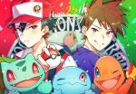 2boys anniversary badge bangs baseball_cap black_hair blue_oak blurry brown_eyes brown_hair bulbasaur charmander commentary_request fire gen_1_pokemon hat holding holding_poke_ball jacket jewelry male_focus multiple_boys necklace parted_lips piroshiki123 poke_ball poke_ball_(basic) pokemon pokemon_(creature) pokemon_(game) pokemon_rgby purple_shirt red_(pokemon) shirt smile spiky_hair squirtle starter_pokemon_trio teeth