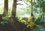 commentary_request day foliage forest gen_3_pokemon highres light_beam nature no_humans ohdon outdoors pokemon pokemon_(creature) signature solo starter_pokemon tree treecko