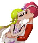1boy 1girl bangs blunt_bangs commentary green_hair half-closed_eyes hetero inkling inkling_(language) kiss leaning_forward long_hair long_sleeves makeup mascara mohawk octoling pointy_ears print_shirt raglan_sleeves red_eyes redhead shirt short_hair simple_background splatoon_(series) standing suction_cups tank_top tentacle_hair very_long_hair white_background white_shirt yeneny
