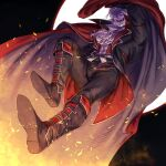 1boy :d ascot black_footwear black_jacket black_pants boots braid cape colored_skin commentary_request dated fangs full_body full_moon gilzaren_iii highres hima_(nichikan) jacket knee_boots long_sleeves looking_at_viewer male_focus moon nijisanji open_clothes open_jacket open_mouth pants purple_skin red_cape red_vest shirt shoe_soles signature smile solo vest virtual_youtuber white_hair white_neckwear white_shirt