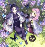 2girls bangs belt black_jacket black_legwear black_pants black_skirt breasts bug butterfly butterfly_hair_ornament closed_mouth commentary_request day flower food from_above gradient_hair green_hair green_legwear hair_ornament hand_up haori highres insect jacket japanese_clothes kanroji_mitsuri kimetsu_no_yaiba knee_up kochou_shinobu large_breasts long_hair long_sleeves looking_at_viewer looking_up military military_uniform miniskirt mole mole_under_eye multicolored_hair multiple_girls nardack no_bra open_clothes open_jacket open_shirt outdoors pants parted_bangs petals pink_hair plate pleated_skirt purple_flower purple_hair shirt sitting sitting_on_ground skirt smile thigh-highs thighs tri_braids uniform white_belt white_shirt wide_sleeves wisteria