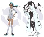 1boy 1girl alternate_costume ankle_boots black_hair black_legwear blue_eyes blue_eyeshadow blue_hair boots buttons closed_mouth coat collarbone collared_shirt commentary_request dark_skin dark_skinned_female dynamax_band earrings eyelashes eyeshadow floating_hair gloves grey_footwear grey_shirt grey_shorts hair_bun hand_in_pocket holding holding_microphone jewelry leggings long_hair makeup microphone microphone_stand multicolored_hair nessa_(pokemon) open_clothes open_coat p-40_(tukinosita-de) partially_fingerless_gloves piers_(pokemon) pokemon pokemon_(game) pokemon_swsh shirt shorts single_glove two-tone_hair white_footwear white_shirt white_shorts