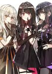 3girls asymmetrical_gloves bangs bare_legs black_dress black_gloves black_hair blonde_hair bracelet breasts brown_hair character_request copyright_request dress elbow_gloves eyebrows_visible_through_hair gloves hand_on_own_chin hand_up highres jewelry long_hair looking_at_viewer medium_breasts multiple_girls orange_eyes pantyhose pink_eyes pleated_dress ring short_sleeves small_breasts smile standing very_long_hair violet_eyes wattaro