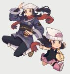 2girls :3 beanie black_hair black_shirt boots chibi dawn_(pokemon) female_protagonist_(pokemon_legends:_arceus) hat head_scarf highres holding holding_poke_ball long_hair multiple_girls pink_footwear pink_skirt poke_ball poke_ball_(legends) poke_ball_symbol pokemon pokemon_(game) pokemon_bdsp pokemon_legends:_arceus red_scarf scarf shirt skirt tiny_pinwheel