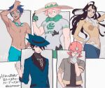 1girl 4boys arm_up bangs beige_headwear black_shirt blue_hair blue_headwear blue_jacket buttons closed_mouth commentary_request dahlia_(pokemon) floating_hair freckles gloves goggles goggles_around_neck green_eyes gym_leader hand_up hat helmet jacket long_hair marlon_(pokemon) milo_(pokemon) multiple_boys navel p-40_(tukinosita-de) pants pink_hair pokemon pokemon_(game) pokemon_bw2 pokemon_dppt pokemon_platinum pokemon_swsh ribbed_shirt riley_(pokemon) roark_(pokemon) shirt shirtless short_sleeves smile sun_hat tan tanline yellow_shirt