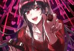 1girl bangs black_hair box chocolate collarbone eyebrows_visible_through_hair fang feeding food heart highres holding holding_box holding_chocolate holding_food holding_heart jewelry long_hair looking_at_viewer necklace open_mouth original pink_ribbon red_eyes red_sweater ribbon smile solo sweater upper_body valentine wattaro