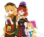 3girls american_flag american_flag_dress american_flag_shirt bangs black_dress black_shirt blonde_hair blush chain chinese_clothes clownpiece commentary_request crescent dress earth_(ornament) fairy fairy_wings food frilled_shirt_collar frills gold_chain hat headdress hecatia_lapislazuli holding holding_food ice_cream jester_cap junko_(touhou) licking long_hair moon_(ornament) multicolored multicolored_clothes multicolored_skirt multiple_girls off-shoulder_shirt off_shoulder plaid plaid_skirt polka_dot polka_dot_headwear polos_crown red_eyes redhead shikushiku_(amamori_weekly) shirt skirt standing star_(symbol) star_print t-shirt tongue touhou white_background wide_sleeves wings