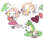 1boy 1girl ahoge bangs black_hairband blonde_hair blunt_bangs blush bow box box_of_chocolates candy child chocolate chocolate_heart closed_eyes commentary_request diagonal-striped_bow dragon dragon_girl dragon_horns dragon_tail eastern_dragon facing_another fang father_and_daughter food hairband heart heart-shaped_box heart_ahoge highlights highres holding holding_chocolate holding_food hololive horn_bow horns isuka kiryuu_coco multicolored multicolored_eyes multicolored_hair multiple_views orange_hair pointy_ears purple_skirt red_eyes sharing_food short_hair signature simple_background skin_fang skirt spoken_heart streaked_hair striped striped_bow tail violet_eyes virtual_youtuber white_background younger