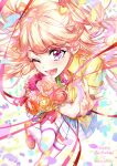 1girl ;d absurdres aikatsu! aikatsu!_(series) bangs blonde_hair blue_skirt blush bouquet daisy dated eyebrows_visible_through_hair flower foreshortening green_shirt gyaru happy_birthday highres holding holding_bouquet jewelry loafers long_hair looking_at_viewer natsuki_mikuru necklace one_eye_closed open_mouth petals pink_eyes pink_flower pink_rose plaid plaid_skirt pleated_skirt rose shirt shoes short_sleeves skirt smile solo thigh-highs two_side_up w wattaro white_legwear yellow_flower yellow_rose yellow_shirt