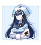 1girl bangs blue_eyes blue_hair blue_sweater breasts card cropped_torso crossed_arms eyebrows_visible_through_hair grey_jacket highres holding holding_card hololive hololive_china jacket large_breasts looking_to_the_side off_shoulder one_eye_closed rosalyn_(hololive) silver_hairband smile solo sweater trading_card upper_body virtual_youtuber z-jun.dd-zhong