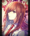 1girl bangs brown_hair collared_shirt eyebrows_visible_through_hair eyes_visible_through_hair hair_between_eyes hair_over_one_eye highres labcoat long_hair makise_kurisu necktie nishijou_myu open_mouth portrait red_neckwear shiny shiny_hair shirt sketch solo steins;gate violet_eyes white_shirt wing_collar