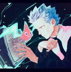 1boy blue_hair closed_mouth cyrus_(pokemon) energy expressionless fingernails gen_4_pokemon hands_up jacket long_sleeves male_focus motion_blur p-40_(tukinosita-de) pokemon pokemon_(creature) pokemon_(game) pokemon_dppt rotom rotom_(normal) screen short_hair spiky_hair team_galactic