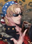 1boy american_flag american_flag_print bandana bangs black_vest blonde_hair blue_eyes card character_name commentary_request cross cross_necklace dollar_bill eyebrows_visible_through_hair facial_hair flag_print holding holding_card jewelry keith_howard looking_at_viewer looking_to_the_side male_focus miyako_(horizonholic) money_rain necklace parted_bangs parted_lips red_shirt shirt short_hair solo stubble studded_vest sunglasses t-shirt upper_body vest yu-gi-oh! yu-gi-oh!_duel_monsters