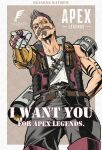 1boy apex_legends black_pants brown_hair copyright_name facial_hair fuse_(apex_legends) grey_eyes highres logo male_focus mechanical_arms mustache one_eye_covered pants parody pointing prosthesis prosthetic_arm red_vest rocket_launcher science_fiction shiny single_mechanical_arm skull_and_crossbones solo soul_patch vest weapon weapon_on_back yasutrella