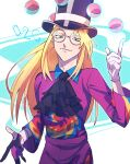 1boy asymmetrical_gloves avery_(pokemon) black_headwear black_neckwear blonde_hair closed_mouth collared_shirt commentary_request cravat floating floating_object glasses gloves hand_up hat highres long_hair male_focus number poke_ball poke_ball_(basic) pokemon pokemon_(game) pokemon_swsh purple_shirt purple_shorts round_eyewear shirt shorts smile solo tarragon telekinesis top_hat