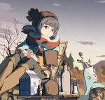 1girl blue_hair chair chinese_commentary commentary_request cup folding_chair ground_vehicle hat highres holding jacket motor_vehicle outdoors scarf scooter shima_rin sitting solo tennohi twilight violet_eyes winter_clothes yamaha_vino yurucamp