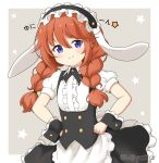 1girl animal_ears apron bangs black_hairband black_skirt blue_eyes blush braid brown_hair center_frills closed_mouth commentary_request cosplay eyebrows_visible_through_hair fake_animal_ears fleur_de_lapin_uniform floppy_ears frilled_apron frilled_hairband frilled_skirt frills gochuumon_wa_usagi_desu_ka? grey_background hair_between_eyes hairband hands_on_hips long_hair looking_at_viewer miicha princess_connect! princess_connect!_re:dive puffy_short_sleeves puffy_sleeves rabbit_ears shirt short_sleeves skirt smile solo starry_background twin_braids twintails twitter_username two-tone_background uniform waist_apron waitress white_apron white_background white_shirt wrist_cuffs yuni_(princess_connect!)