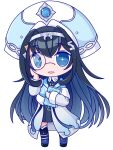 1girl black_hair blue_eyes blue_hair blue_jacket blush book chibi colored_inner_hair holding holding_book hololive hololive_china jacket lobera monocle multicolored_hair off_shoulder open_mouth rosalyn_(hololive) silver_hairband smile solo transparent_background virtual_youtuber