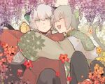 2boys animal_ears bangs bidiu_(the_legend_of_luoxiaohei) cat_boy cat_ears cat_tail closed_eyes eyebrows_visible_through_hair flower green_eyes grey_hair huangshou_(the_legend_of_luoxiaohei) long_sleeves luoxiaohei multiple_boys open_mouth orange_flower personification purple_flower red_flower sleeves_past_fingers sleeves_past_wrists smile tail the_legend_of_luo_xiaohei upper_body utz_tau white_hair wisteria