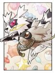apple apple_core artist_name brown_eyes candy_wrapper claws closed_mouth commentary_request crystal dual_persona food fruit galarian_form galarian_zigzagoon gen_3_pokemon gen_8_pokemon looking_at_another mouth_hold no_humans odo_7ta poke_ball pokemon pokemon_(creature) potion rope ultra_ball yarn yarn_ball zigzagoon