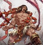 1boy abs biceps brown_hair bulge claw_pose cross_scar feet_out_of_frame fighting_stance floating_hair gradient_hair large_pectorals long_hair male_focus mature_male multicolored_hair muscular muscular_male navel necalli nipples redhead roaring scar scar_on_chest shirtless solo stomach street_fighter street_fighter_v thighs torn_clothes zoo_(oukakumaku)